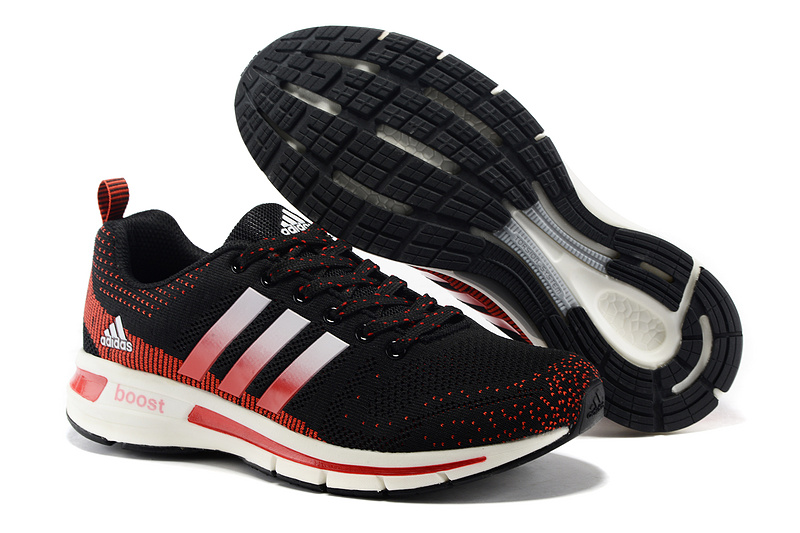 Men's/Women's Adidas Questar Flyknit Boost Running Shoes Core Black/Crimson/Running White
