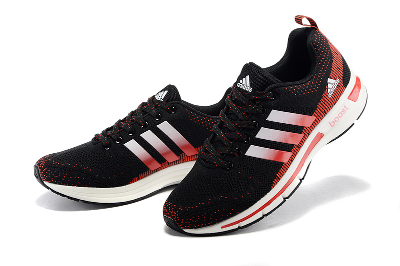 Men\'s/Women\'s Adidas Questar Flyknit Boost Running Shoes Core Black/Crimson/Running White