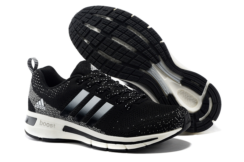 Men's/Women's Adidas Questar Flyknit Boost Running Shoes Core Black/White