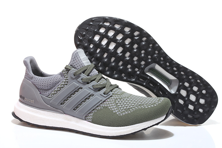 Men's/Women's Adidas Running Ultra Boost Shoes Army Green/Grey