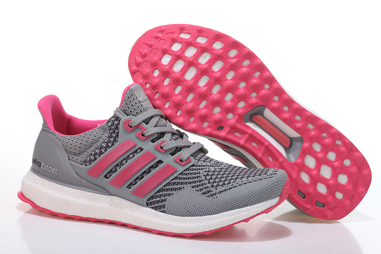 Men's/Women's Adidas Running Ultra Boost Shoes Metallic Grey/Pink