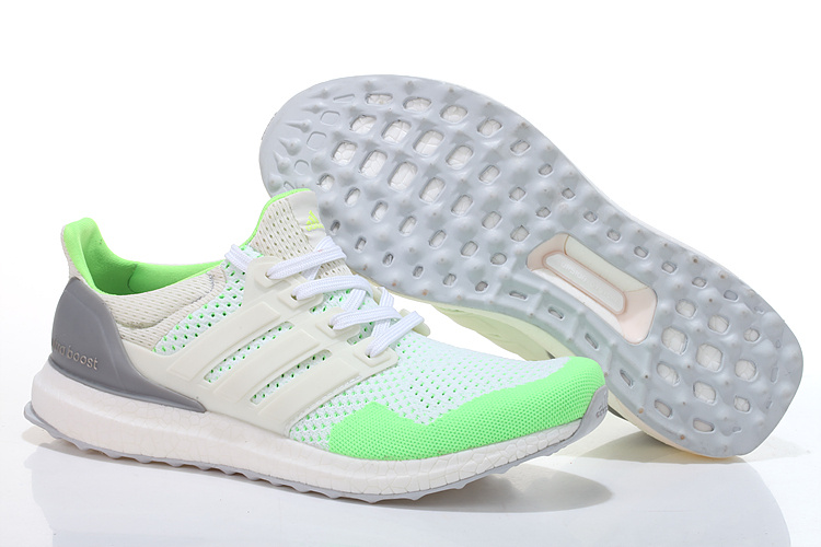Men's/Women's Adidas Running Ultra Boost Shoes White/Fluorescent Green