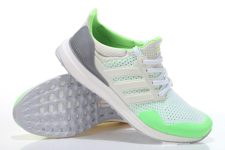 Men\'s/Women\'s Adidas Running Ultra Boost Shoes White/Fluorescent Green