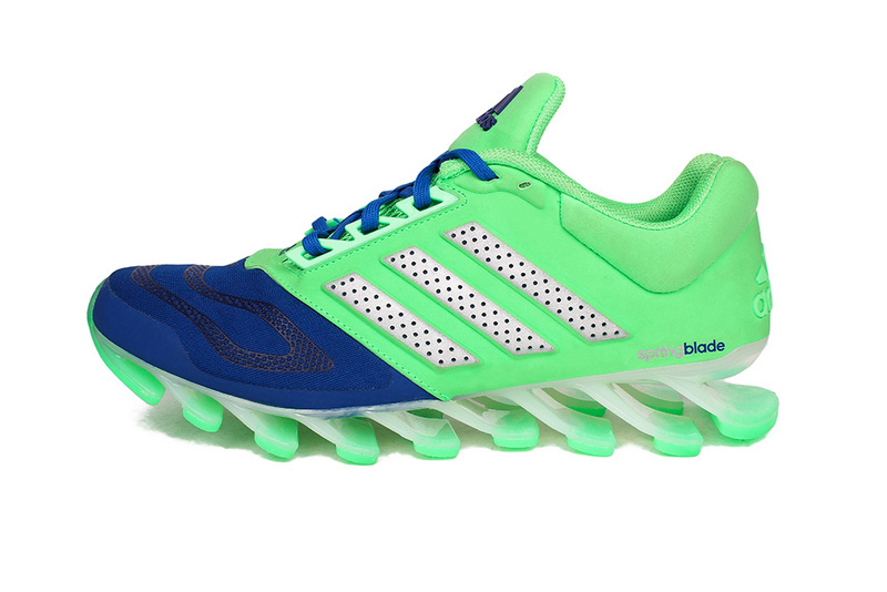 Men's Adidas Springblade 5 Running Shoes Fluorescent Green/Blue