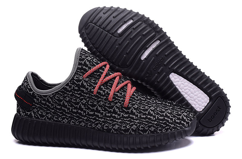 Men's Adidas Yeezy Boost 350 Shoes Black/Grey/Red