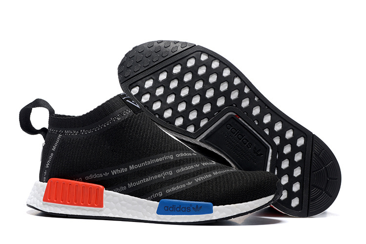Men's Adidas Originals NMD High Top Sneaker Black/Red/Blue/White